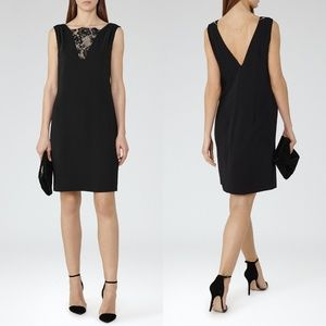 REISS Black Lace Inset Chain V-Back Sheath Dress 0